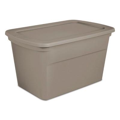 Sterilite 30 Gallon Plastic Stackable Storage Tote Container Box, Taupe(30 Pack)