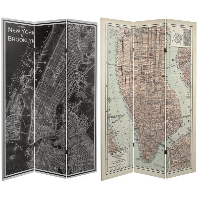 """6"""" Double Sided Map of New York Canvas Room Divider Gray - Oriental Furniture"""