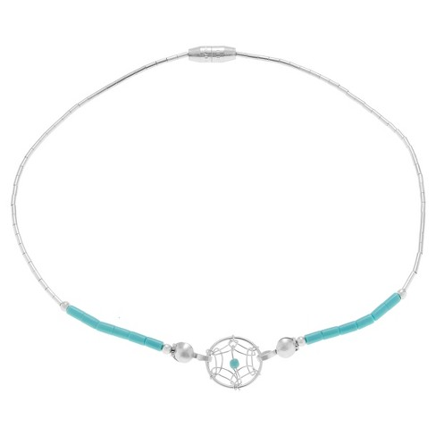 "Women's Journee Collection Sterling Silver Beaded Dreamcatcher Anklet - Turquoise (9"") - image 1 of 3"