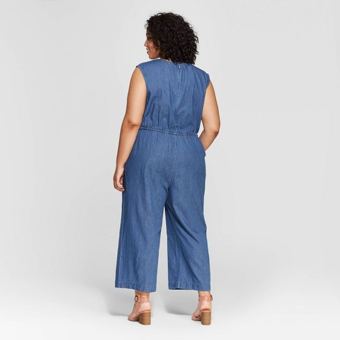 a424f74cf8eb Women s Plus Size Denim V-Neck Jumpsuit - Universal Thread™ Medium Wash 4X    Target