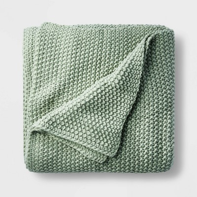 Full/Queen Chunky Knit Bed Blanket Sage Green - Casaluna™