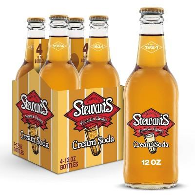 Stewart's Cream Soda Made with Sugar - 4pk/12 fl oz Glass Bottles