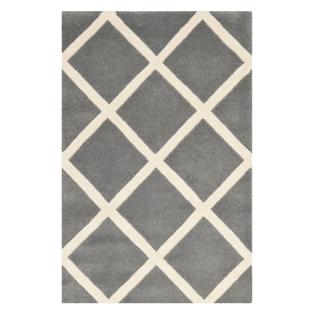 2'X3' Geometric Tufted Accent Rug Dark Gray/Ivory - Safavieh
