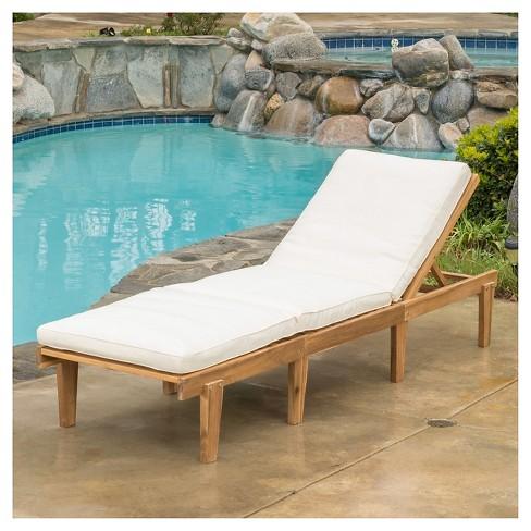 7f26004e372 Ariana Acacia Wood Patio Chaise Lounge With Cushion -Teak Finish - Christopher  Knight Home   Target