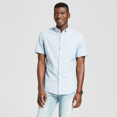 Men's Slim Fit Short Sleeve Button-Down Shirt - Goodfellow & Co™ Chambray S