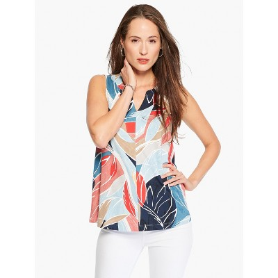NIC+ZOE Women's Breezy Leaves Tank Blue Multi