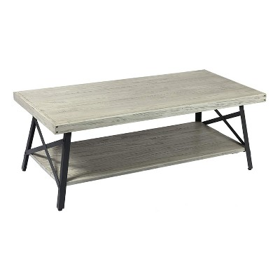 Wallace & Bay Chandler 48 Inch Long Rustic Decor Indoor Home Open Storage Coffee and Cocktail Table, Brushed Gray