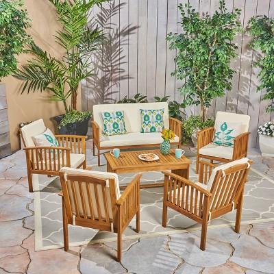 Carolina 6pc Acacia Wood Chat Set - Brown/Cream - Christopher Knight Home