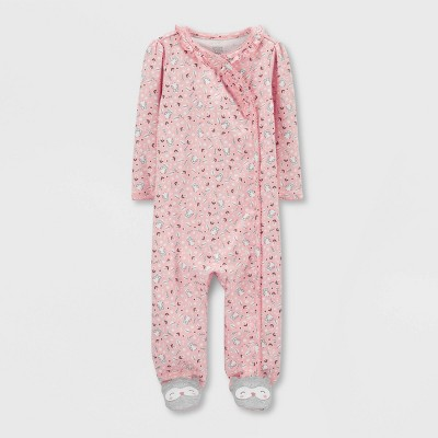 Baby Girls' Owl Interlock Sleep 'N Play 1pc Pajama - Just One You® made by carter's Light Pink 6M