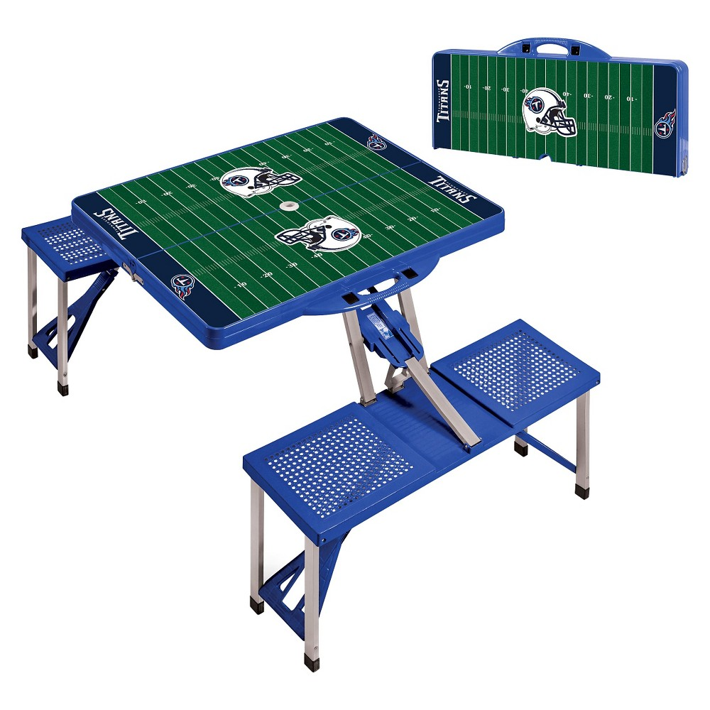 Tennessee Titans Portable Picnic Table with Sports Field Design by Picnic Time - Blue