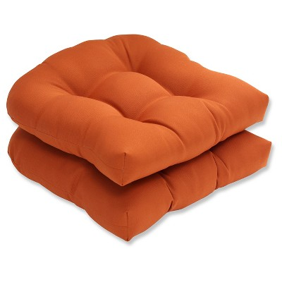 Outdoor 2-Piece Wicker Seat Cushion Set - Burnt Orange Fresco Solid