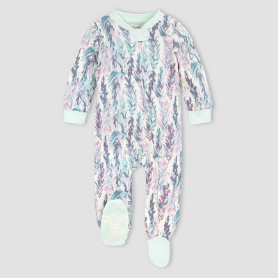 Burt's Bees Baby® Baby Girls' Organic Cotton Ruffled Feathers Sleep N' Play - Blue 0-3M