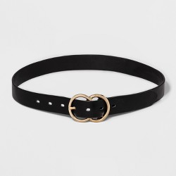 Women's Double Buckle Belt - A New Day™ Black