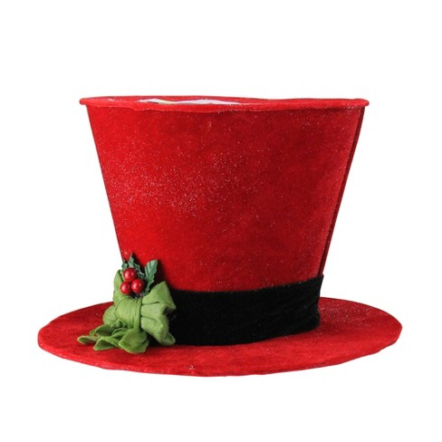 Christmas Top Hat.Melrose 8 Red And Black Top Hat With Green Bow Table Top Christmas Decoration