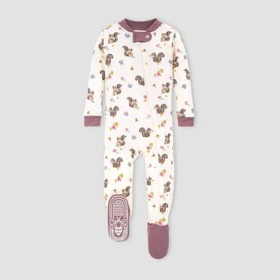 Burt's Bees Baby® Baby Girls' Organic Cotton Squirrel Footed Pajama - Off-White 3-6M