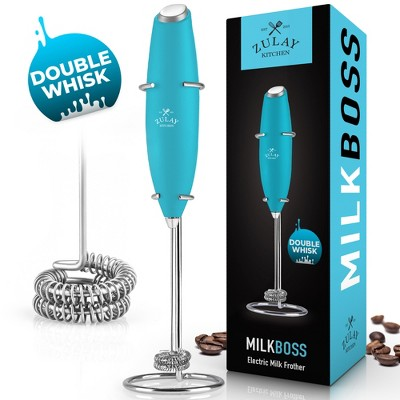 Zulay Kitchen New Double Whisk - Improved Motor Milk Boss Milk Frother - Handheld Frother Whisk - High Powered Milk Foamer Frother Mini Blender for Coffee, Bulletproof® Coffee, Cappuccino, Frappe, Matcha, Hot Chocolate, Twin Whisks