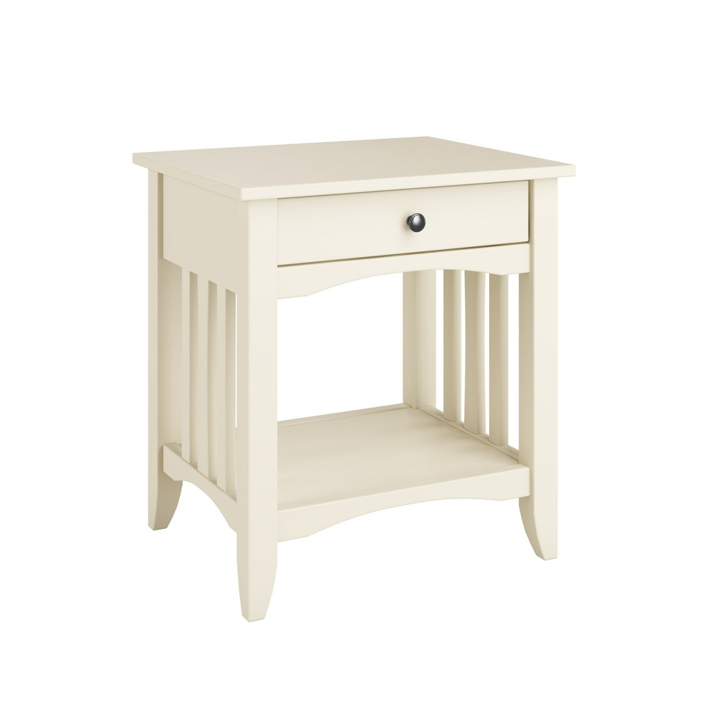 Crestway End Table with Drawers White - CorLiving, Off- White