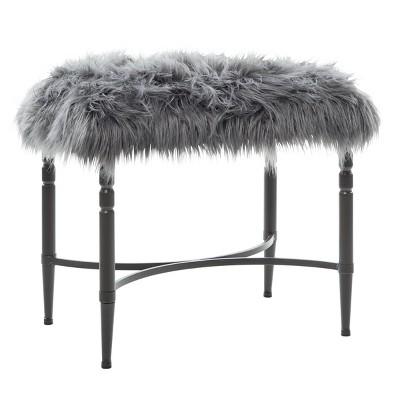 Modern Faux Fur Cushioned Stool Gray - Olivia & May