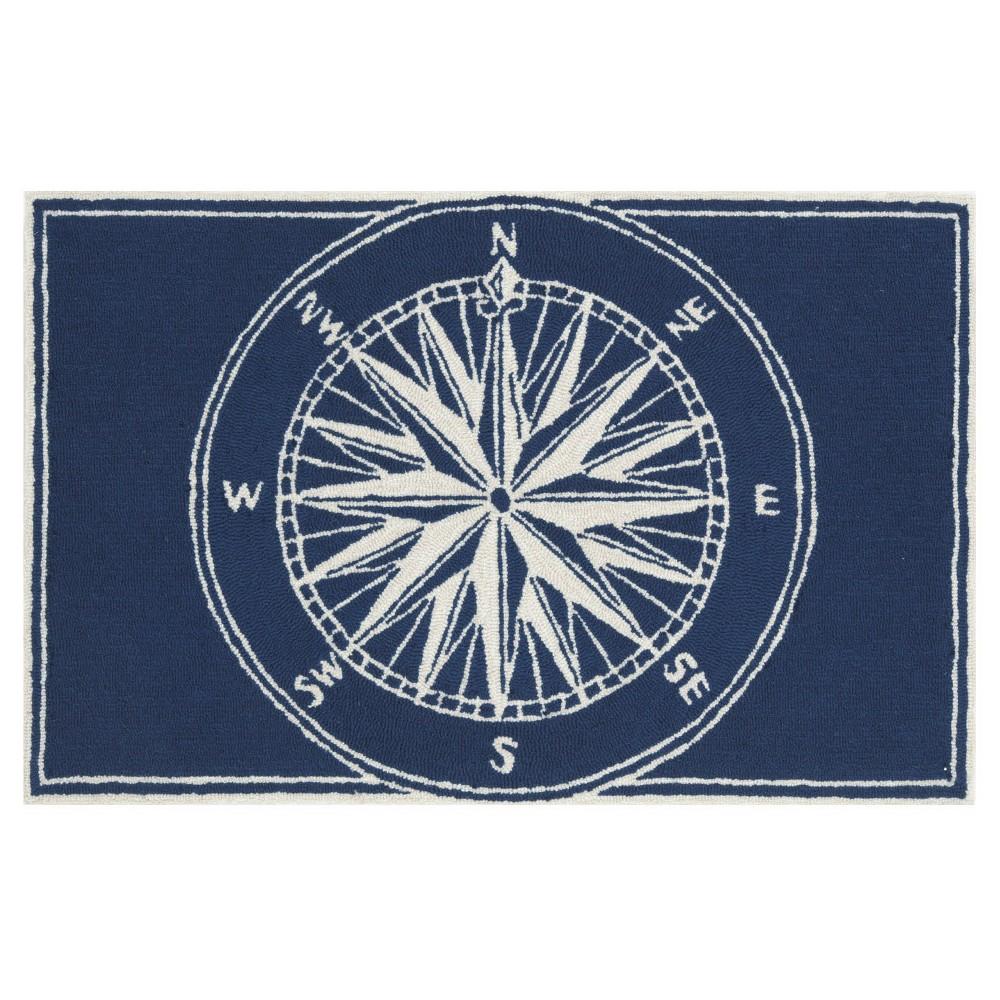 "Image of ""1'8""""x2'6"""" Frontporch Indoor/Outdoor Compass Rug Navy - Liora Manne"""