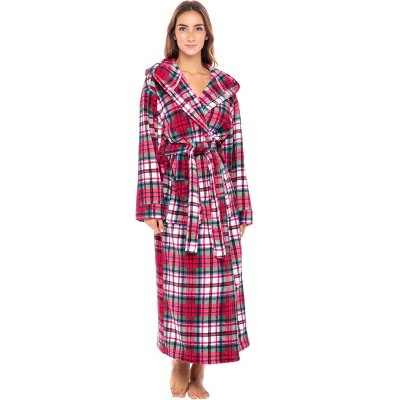 Alexander Del Rossa Women's Warm Fleece Full Length Hooded Bathrobe