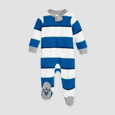 Burt's Bees Baby® Baby Boys' Organic Cotton Tipped Rugby Stripe Sleep N' Play - Blue 0-3M