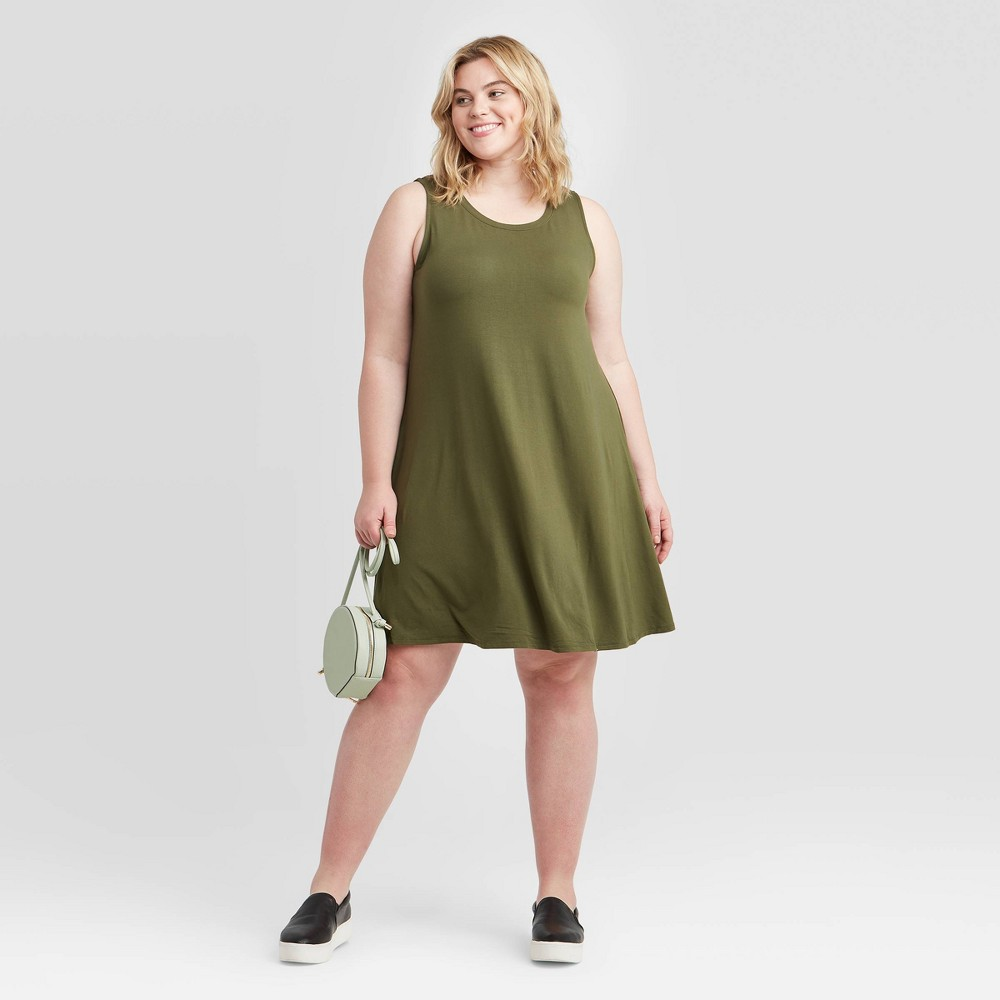 Women's Plus Size Sleeveless Knit Swing Dress - Ava & Viv Olive Green 2X, Green Green was $15.0 now $10.0 (33.0% off)