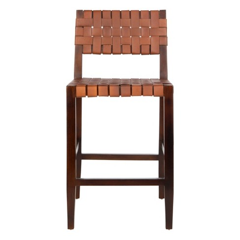 Paxton Woven Leather Counter Stool Cognac - Safavieh - image 1 of 8