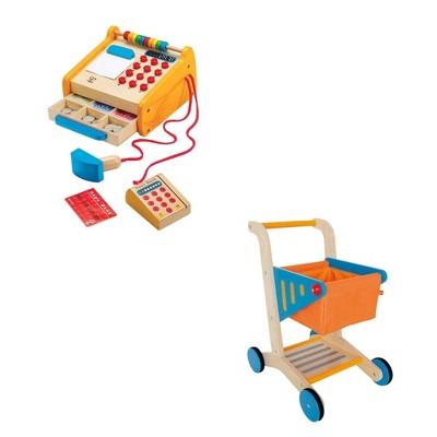 Hape Toys Kids Wooden Cash Register Pretend Playset + Hape Wooden Shopping Cart