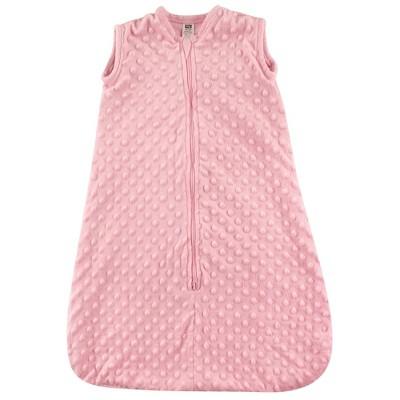 Hudson Baby Infant Girl Plush Sleeping Bag, Sack, Blanket, Light Pink Dot Mink, 12-18 Months
