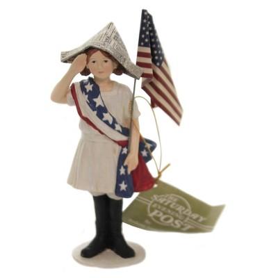 "Patriotic 6.5"" Stars And Stripes Girl American Flag Salute  -  Decorative Figurines"