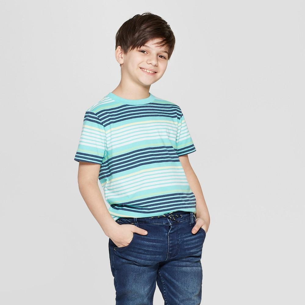 Boys' Striped Short Sleeve T-Shirt - Cat & Jack Green/Blue/Yellow S