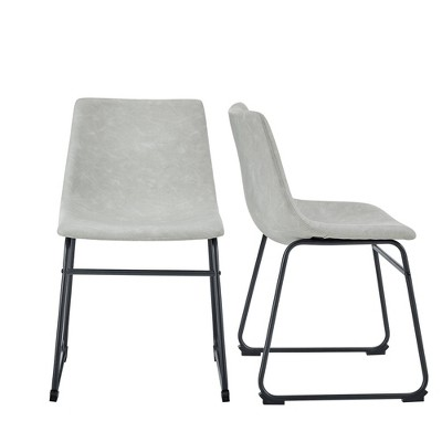 Set of 2 Faux Leather Dining Chairs Gray - Saracina Home