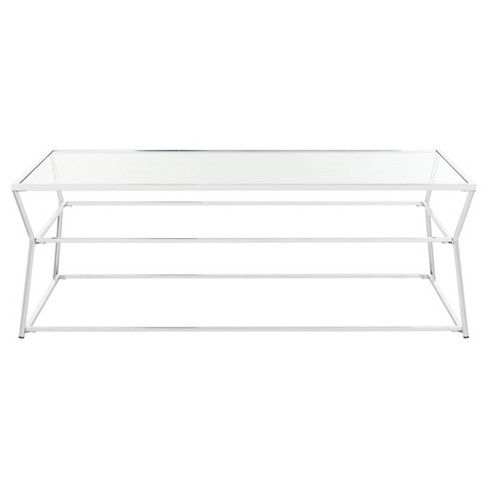 Ellie Glass Coffee Table - Chrome - Safavieh® - image 1 of 5