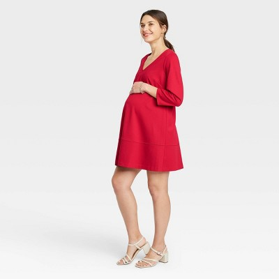 The Nines by HATCH™ 3/4 Sleeve Fit & Flare Ponte Maternity Dress Red