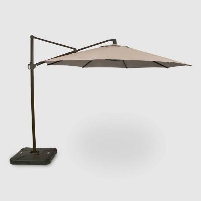 11u0027 Offset Patio Umbrella Tan   Black Pole   Threshold™