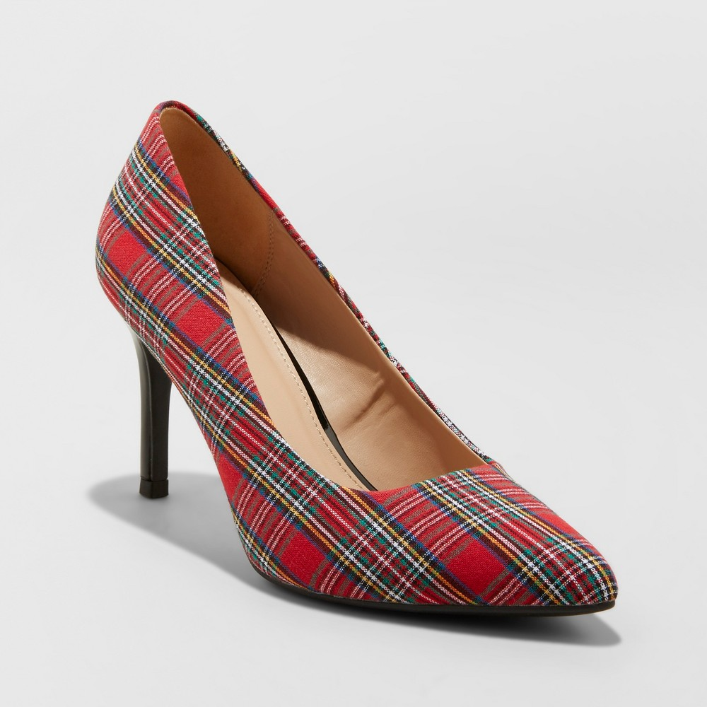 Women's Gemma Wide Width Plaid Pointed Toe Heeled Pumps - A New Day Red Plaid 8W, Size: 8 Wide