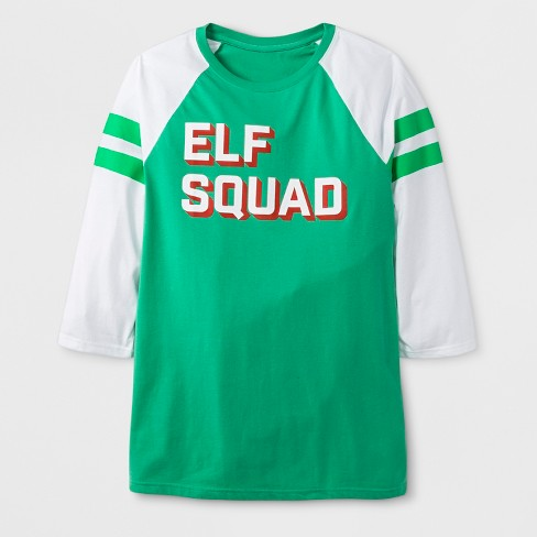 Men's 3/4 Sleeve 'Elf Squad' T-Shirt - Green XL - image 1 of 2