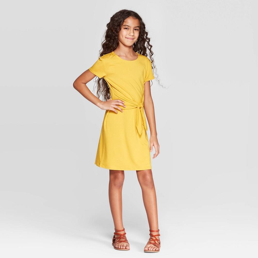 Girls' Tie Front Dress - art class Cream (Ivory) XS
