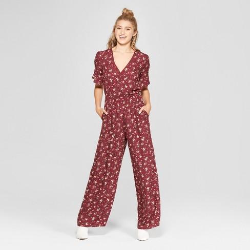 46005f1fc76 Women s Floral Print Short Sleeve Wrap Jumpsuit - Xhilaration ...