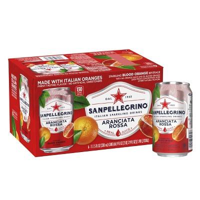 Sanpellegrino Sparkling Fruit Beverages Aranciata Rossa/Blood Orange - 6pk/11.15 fl oz Cans