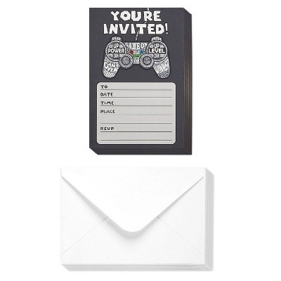40-Pack Video Game Birthday Party Invitations with Envelopes, Kids & Boys Birthdays, Gaming Theme Party Supplies, 4 x 6""