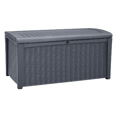 Keter Borneo Outdoor Resin Deck Storage Box Bin Organizer for Patio Furniture, Cushions, and Pool Toys with Wicker/Rattan Design, 110 Gallon, Grey
