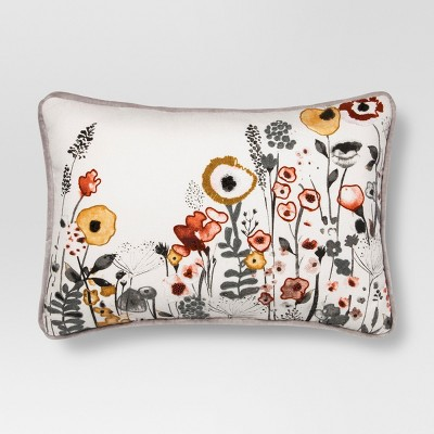 White Floral Watercolor Embroidered Lumbar Pillow - Threshold™