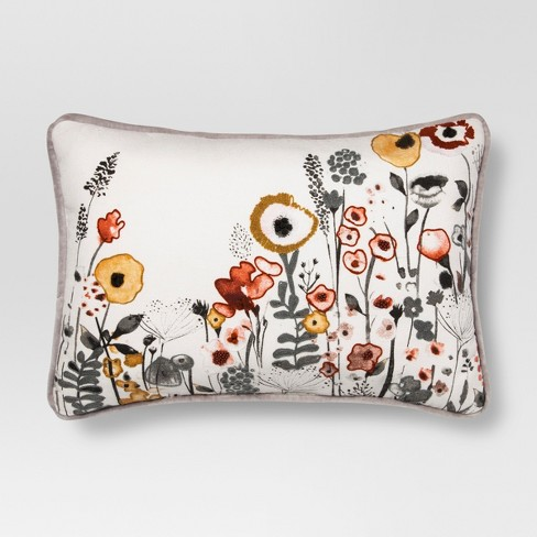 White Floral Watercolor Embroidered Lumbar Pillow - Threshold™ - image 1 of 3