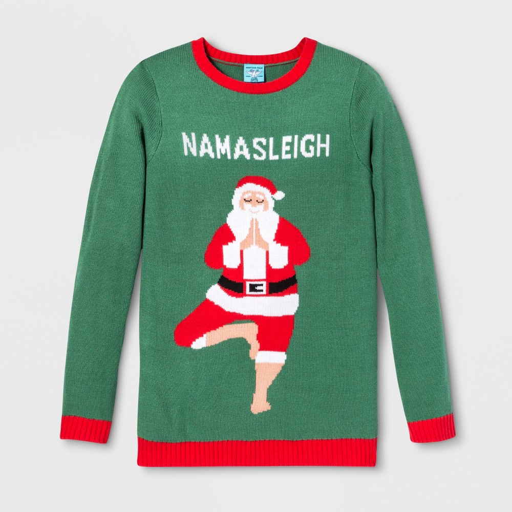 Adult Christmas Namasleigh Santa Ugly Sweater - Norther Pole Green M, Adult Unisex, Multicolored