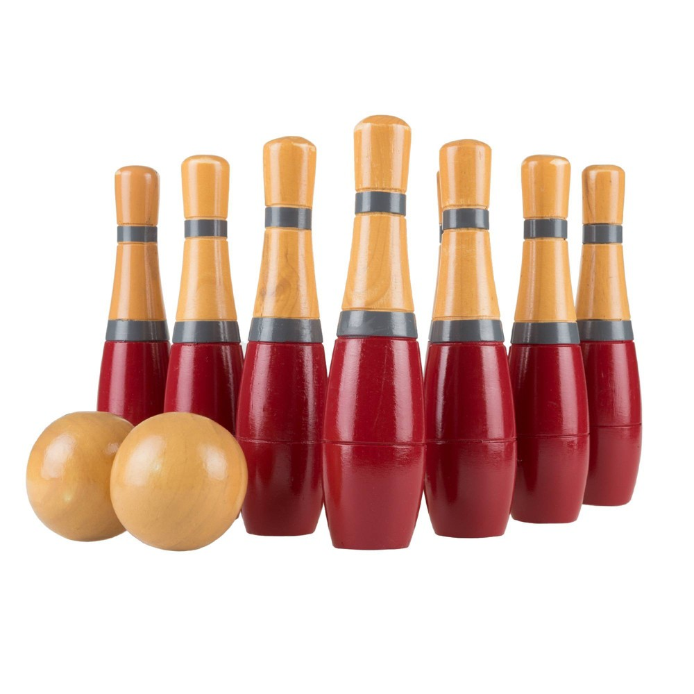 "Image of ""Hey! Play! Tall 8"""" Wooden Lawn Bowling Game - Red/Gray"""