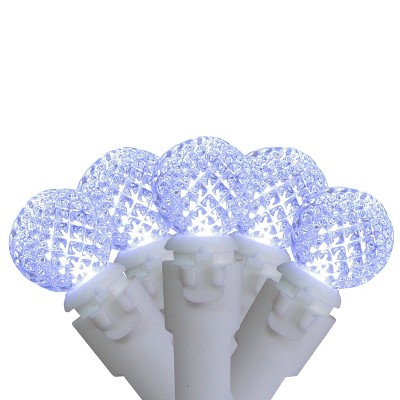 """Brite Star Set of 50 Pure White LED G12 Berry Christmas Lights 4"""" Bulb Spacing - White Wire"""
