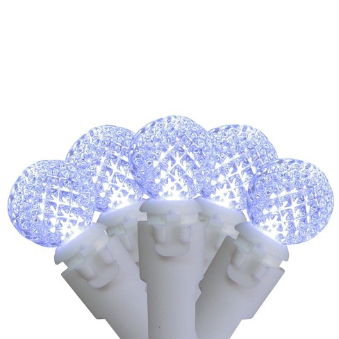 """Brite Star Set of 50 Pure White LED G12 Berry Christmas Lights 4"""" Bulb Spacing - White Wire - image 1 of 3"""