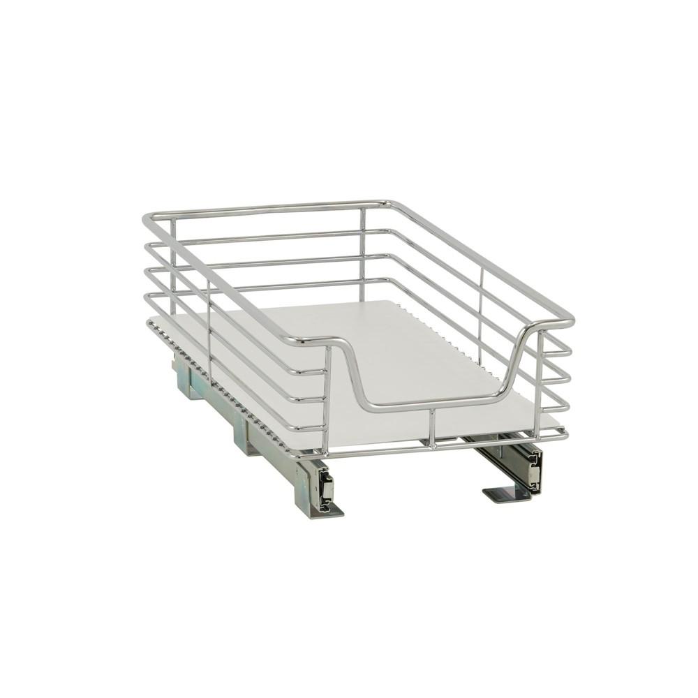 Design Trend 1-Tier Single Basket Sliding Under - Cabinet Organizer 11.5 Extended Depth Chrome (Grey)