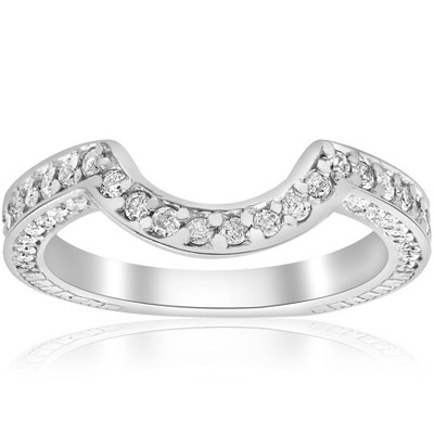 Pompeii3 3/4ct White Gold Curve Notched Diamond Enhancer 14K